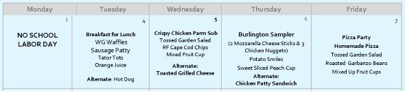 Next Weeks Lunch